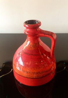 Red orange West German ewer; ca. 1970