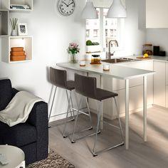 IKEA - STIG Bar stool with backrest black, silver color Ikea Bar, Bar Table Ikea, Bar Tables, Pub Chairs, Bar Stool Chairs, Kitchen Counter Chairs, Apartment Bar, Bar Noir, Ikea Stool