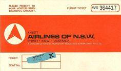 Ansett Airlines of N.S.W Passenger Ticket