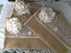 Burlap and  Lace wedding clutch bridesmaids by burlapheartstrings, $21.00