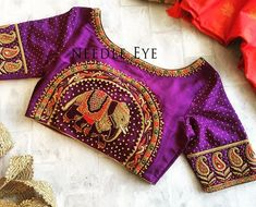 A classic elephant work on our clients blouse. Dont you love the colour combination?