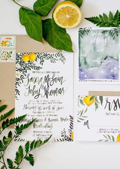Lemon & Greenery Italy Inspired Suite - Painted Calligraphy - Hand Lettering - Watercolor Wedding In - Destination Wedding Invitations, Watercolor Wedding Invitations, Wedding Invitation Suite, Wedding Stationary, Wedding Planning, Wedding Suite, Destination Weddings, Italian Wedding Invitations, Wedding Programs