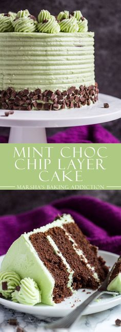 This Mint Chocolate Chip Layer Cake is a mint lover's dream come true! Chocolate cake layers with chunks of Andes mints and mini chocolate . Coconut Dessert, Bon Dessert, Low Carb Dessert, Coconut Cakes, Lemon Cakes, Menta Chocolate, Mint Chocolate Chips, Chocolate Desserts, Chocolate Muffins