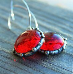 """Купить Серьги """"Красное стекло"""" витражные. - ярко-красный, серьги, красные серьги, из стекла, стеклянные"""
