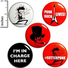 Punk Rock Button 5 Pack Backpack Pins Gutterpunk I'm In Charge Here Punk Rock Zombie Guitar Skull Top Hat Cigar Pinback Badge Funny Buttons, Cool Buttons, Bag Pins, Jacket Pins, Save The Bees, Jacket Buttons, Pin Badges, Punk Rock, Nerdy