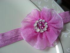 Dark pink Fabric Flower Headband by JacknLilAccessories on Etsy, $5.95