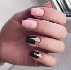Black and pink nails Fall nails 2017 Fall nails trends Geometric nails Glitter nails Half-moon nails ideas Moon nails 2017 Nails for September 1 Love Nails, Pink Nails, Glitter Nails, Pink Glitter, Glitter Art, Glitter Converse, Glitter Letters, Sparkle Nails, Glitter Eyeshadow