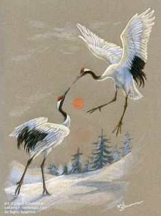 Dancing Cranes by pallanoph on deviantART ~ artist April Schumacher Japanese Painting, Chinese Painting, Chinese Art, Silk Painting, Painting & Drawing, Crane Tattoo, Frida Art, Art Asiatique, Art Japonais