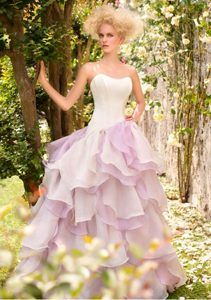 Swell White Sweetheart Quinceanera Dress with Ruffles in White and Lilac Organza