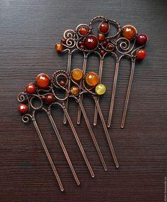 Купить Гребни с натуральными камнями - комбинированный, гребень для прически, гребень из меди, гребень с камнями