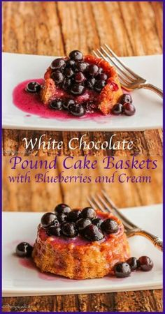 Lemon Glazed White Chocolate Cream Cheese Pound Cake Baskets with Blueberries and Cream