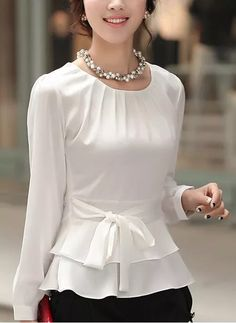 Solid Casual Others Long Sleeve Blouses - White XL Blouse Styles, Blouse Designs, Modest Fashion, Fashion Dresses, Sleeves Designs For Dresses, Crop Top Outfits, Blouse And Skirt, Corsage, Casual Looks