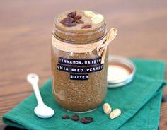 Healthy Homemade Cinnamon Raisin Chia Seed Peanut Butter recipe
