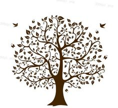 tree silhouette digital clipart vector eps svg dxf png files Clip Art Images Instant Download: