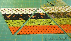 Hexagon quilt tutorial, uses inch strips (jelly roll) by Leslee DAvis Quilting Tutorials, Quilting Projects, Quilting Designs, Sewing Projects, Quilting Tips, Halloween Quilts, Halloween Quilt Patterns, Jelly Roll Quilt Patterns, Patchwork Patterns