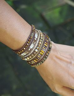 So Rock Brown Crystal beaded mix Wrap bracelet Boho bracelet Bohemian bracelet Beadwork bracelet by on Etsy Beaded Wrap Bracelets, Bohemian Bracelets, Layered Bracelets, Bohemian Jewelry, Bohemian Style, Diamond Bracelets, Leather Jewelry, Leather Cord, Leather Necklace