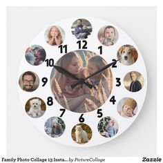 27 Best Photo Collage With Clips Photo Collages For Wall Photo Collage Board, Photo Collage Gift, Family Photo Collages, Family Portraits, Picture Clock, Photo Clock, Clock Tattoo Design, Wall Clock Design, Silver Wall Clock