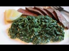 Fast & Easy Creamed Spinach - Creamy Spinach Side Dish - I'm wondering if Earth Balance and some silk creamer will work. Saag Recipe, Creamy Spinach, Garlic Spinach, Sauteed Spinach, Spinach Dip, Steak Side Dishes, Food Wishes, Spinach Recipes, Kitchens