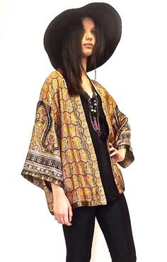 Silk  Kimono jacket / cover up gold and black di Bibiluxe su Etsy, £75.00
