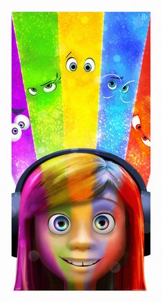 Official artwork as part of a collaboration between The Poster Posse and Disney Pixar for 'Inside Out'. This is my effort Thanks for looking Painted in . Inside Out Disney Quiz, Disney Pixar, Film Disney, Arte Disney, Disney Animation, Disney And Dreamworks, Disney Love, Disney Magic, Disney Art