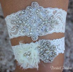 Wedding Garter Set - Toss Garter - Bridal Garter -Wedding - Bride - Crystal Garter-Rhinestone Garter-Vintage Garter-Vintage Wedding. $24.00, via Etsy.
