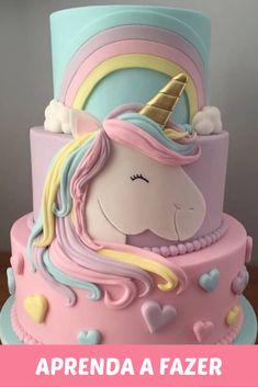 Není k dispozici žádný popis fotky. Cute Birthday Cakes, Unicorn Birthday Parties, Unicorn Party, Birthday Party Decorations, Unicorne Cake, Fondant Cakes, Cupcake Cakes, Bolo Tumblr, Pear Cake
