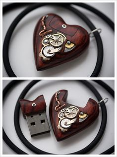 Steampunk Tendencies | 32GB USB Heart Pendant by Artype New Group : Come to share, promote your art, your event, meet new people, crafters, artists, performers... https://www.facebook.com/groups/steampunktendencies