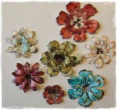Gesso + die cut flowers from the @Tim Holtz Tattered Florals die.