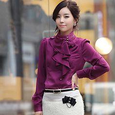 cuello de las mujeres blusa de seda soporte camisa - USD $ 19.59
