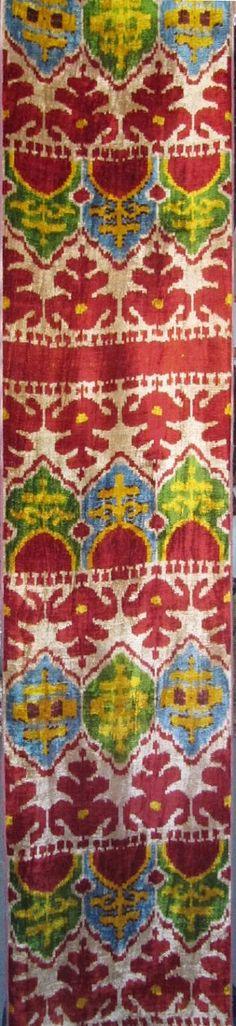 Yuner / Silk Velvet, uzbek ikat fabric, 1 yard,K 196