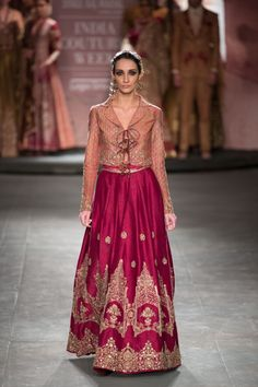 Anju Modi at India Couture Week 2014 - red lehnga with jacket