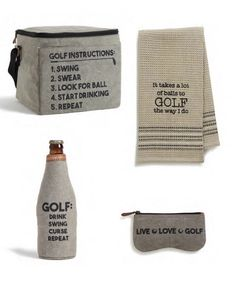 Game Day Collection by Mona B:  GOLF INSTRUCTIONS 12 PK. COOLER, TEED OFF DISHTOWEL, SWING CURSE REPEAT BOTTLE KOOZIE, and LIVE FOR GOLF EYEGLASS POUCH Beer Caddy, Golf Instruction, Dopp Kit, O Love, Golf Lessons, Flask, Repeat, Pouch, Game