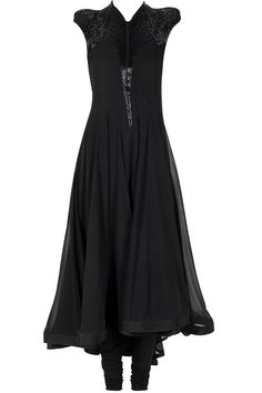 Black puffed shoulder embellished kurta set available only at Pernia's Pop-Up Shop.
