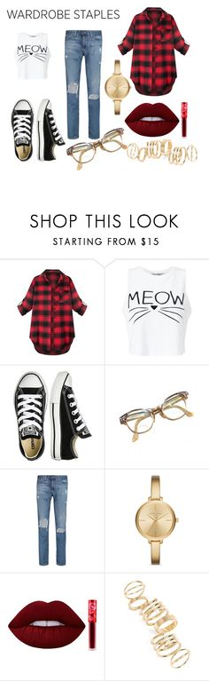 """""""Plaid is a new black."""" by amrinjo ❤ liked on Polyvore featuring Miss Selfridge, Converse, Retrò, AG Adriano Goldschmied, Michael Kors, Lime Crime, BP., men's fashion, menswear and plaid"""