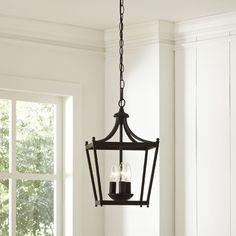 3 - Light Lantern Geometric Pendant with Wood Accents Foyer Lighting, Overhead Lighting, Kitchen Lighting, Lighting Ideas, Island Lighting, Exterior Lighting, Farmhouse Pendant Lighting, Pendant Lights, Traditional Pendant Lighting