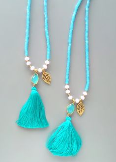 Quartz Aqua Tassels Necklace