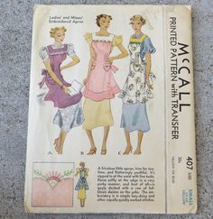 1930s McCalls 407 Apron with flared ruffle Pattern