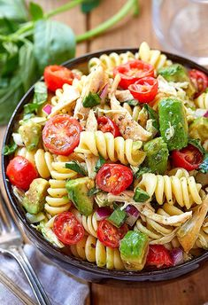 Healthy chicken pasta salad chicken salad recipe packed with flavor protein and veggies! this healthy chicken pasta salad is loaded with tomatoes avocado and fresh basil recipe by 9 crazy filling protein packed keto salad recipes to lose weight Healthy Chicken Pasta, Salad Chicken, Basil Chicken, Basil Pasta, Fried Chicken, Avocado Pasta, Shrimp Pasta, Healthy Pasta Salad, Heathy Pasta