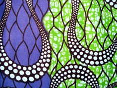 Purple and Green all at sea African wax print batik fabric BY THE YARD 100% cotton. £5.20, via Etsy.