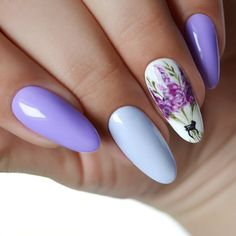 Fioletowe paznokcie hybrydowe w rozkwicie! Cute Almond Nails, Almond Nail Art, Beauty Products You Need, Cat Nails, Malu, Opi, Nailart, Manicure, Nail Designs