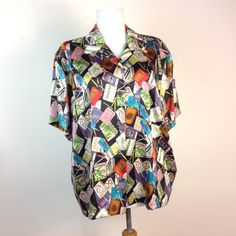 Vintage 90s Nicole Miller Blouse Limited by sixcatsfunVINTAGE