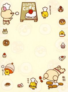 Korilakkuma and kiroitori baking memo sheet Kawaii Stickers, Cute Stickers, Rilakkuma Wallpaper, Printable Planner Stickers, Printables, Note Memo, Cute Stationary, Kawaii Doodles, Kawaii Stationery