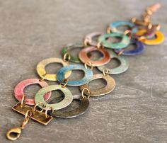 Enamel Bracelet Rustic Rainbow by jillddesigns on Etsy