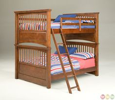American Spirit Brown Cherry Finish Full over Full Youth Bunk bed