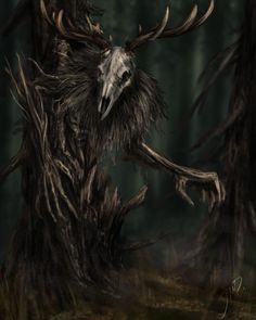 "This reminds me of the dangerous woodwight in my novel, Storm Crossed ""Leshen"" by Jorek Auberg on ArtStation Dark Creatures, Mythical Creatures Art, Weird Creatures, Fantasy Creatures, Monster Concept Art, Fantasy Monster, Arte Horror, Horror Art, Dark Fantasy Art"