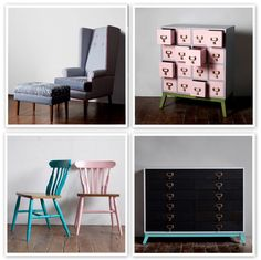 How adorable would this pink dresser be in a little girl's room? And, I love the contrast between the pink and turquoise chairs - could be so easy to replicated with painted flea market chairs, no?