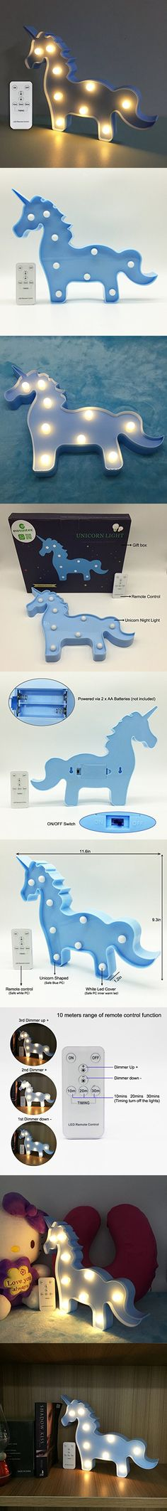 Night Lights for Kids Unicorn Led Night Light Remote with Dimmer Gifts for Kids or Gift Ideas or Baby Room Decor (Unicorn Blue)