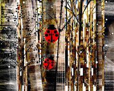 Ladybug Print, Ladybug Painting,Whimsical Ladybug, Children's Room, Kid's Bedroom Painting, Nursery Art,Tree Painting,Animal Print