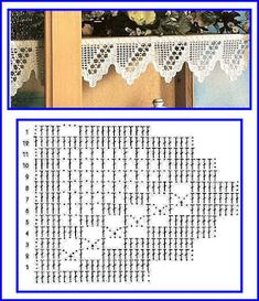 Crocheted motif no. Filet Crochet, Crochet Lace Edging, Crochet Borders, Crochet Diagram, Irish Crochet, Crochet Stitches, Crochet Home, Easy Crochet, Crochet Designs