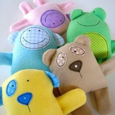 """These baby animals are soft and sweet! Instructions are included to make a teddy, panda, monkey, sheep, dog and frog. Each one measures approximately 6 1/4"""" tall by  7 1/2"""" wide. Fleece with cotton appliques."""